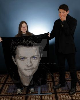 Misha Collins with his crochet portrait by rhoward8