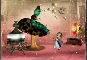 Alice and thw caterpillar by mininessie66