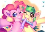 Commission: Green Cracker and PinkiePie by bakki