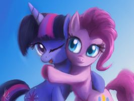 Twilight Sparkle and Pinkie Pie by Raikoh-illust