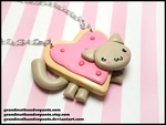 Heart Nyan Cat Necklace by GrandmaThunderpants