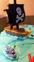 Pirate Cake - Shark and Ship by Mikkino