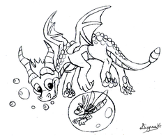 Swimming Spyro Lineart by CartoonSilverFox