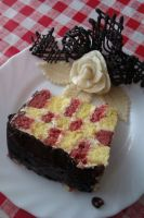 Checkered cake with choco decoration by Andorea06