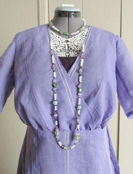 1912 Periwinkle Dress with Necklace by tinselizzi