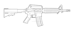 Colt M733 Commando Lineart by MasterChiefFox