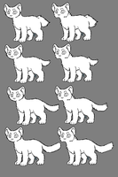 Short- and longhaired cat linearts by Shakshun