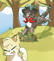 *jUMP INTO THE leAF PILE* by cookiiecats