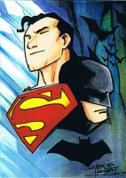 Worlds Finest sketch card by KidNotorious