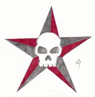 skull and star tattoo by poisoned-well