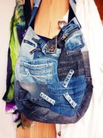 Large Jeans Patchwork Bag (Hosentasche) by ajnataya