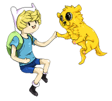 Finn and Jake pixels by FrayedEntity