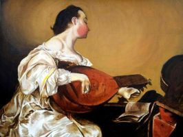 Woman Playing a lute by Fred-Weasley