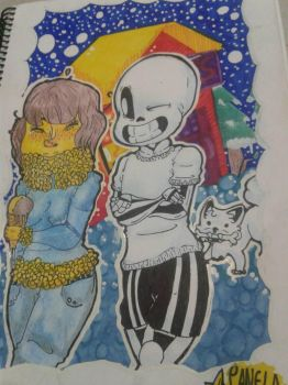 Sans and Frisk. (IS NOT FRANS) by 8CanelaRika8