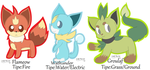 Fakemon Starters by LeafyTheCat