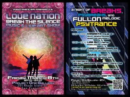 Love Nation: Break The Silence flyer, front + back by seanwendt