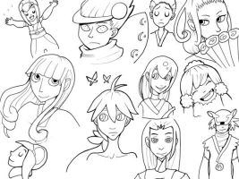 Katanagatari Faces lineart by Raspberl