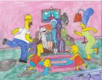 The Grimwood Girls sitting on the Simpsons' couch by YakkoWarnerMovies101