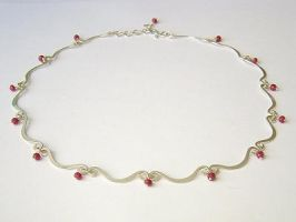 Scallop Chain with Rubies by MarieCristine