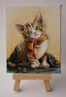 Harry Potter kitten transfiguration Mini painting by LunaAshley