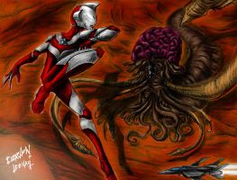 Ultraman great vs Gudis by CorvenIcenail