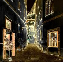 Evening In Stockholm Old Town by eskile
