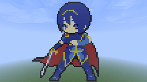 Minecraft Pixel Art- Fire Emblem Marth by MrEincorporatedd
