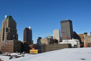Blue sky downtown by TomKilbane