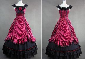 Red and Black Satin Gothic Victorian Gown by weodress