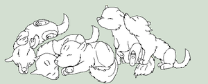 5 Puppies Lineart Free by wolfpup123