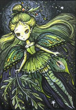 The Green Fairy, ACEO ATC by stevenshipman