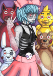 Zombirella y los animatronics COLOR (Virtual Hero) by mymicaloz