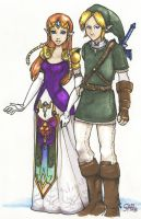 Zelda and Link - Prismacolor by Sabtastic