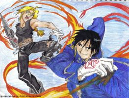 FMA- FullMetal vs Flame by KamuiYamato