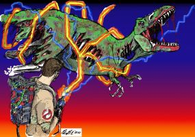 Ghostbusters vs Zombie Rex by BondArt