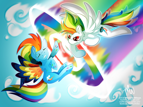 Commission: THIS is how you Sonic Rainboom! by Mychelle