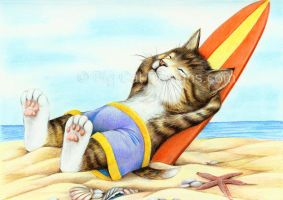 Hung Ten - Tabby Cat Surfer by bigcatdesigns