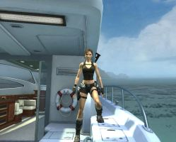 Lara on her boat. by Chriss2010