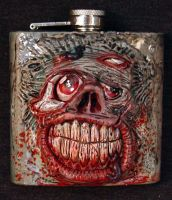 Zombie 6oz Flask OOAK by Undead-Art