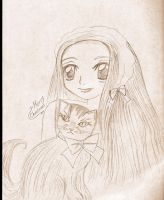 -Winter Cat and girl Sepia S.. by Leeleechanlee