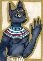 Eternal Egypt ATC: Bastet by anne-t-cats