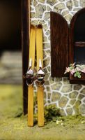 Winter Is Over2 - dollhouse miniature vintage skis by SRKminiature