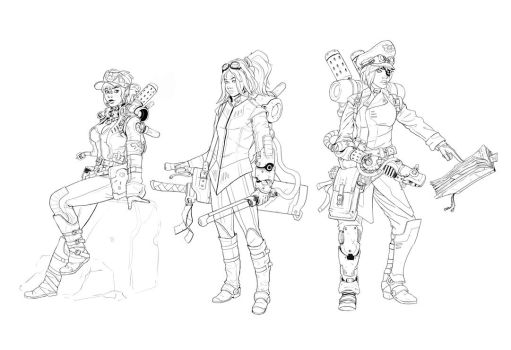 Weekly20130225 - SteamMagicWH40KPunk characters by StMan