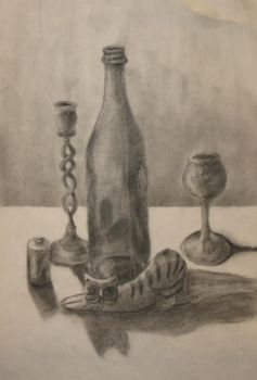 Charcoal Still Life by CaffinatedAngst