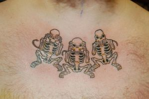 three wise monkey skeletons tattoo by yayzus