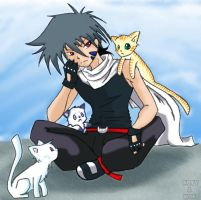 Kai and cats - Collab by Nuvvola
