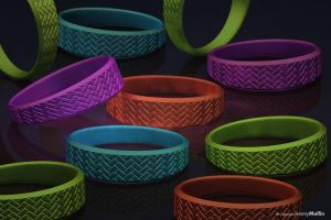 Rainbow Colored Kitchen Tile Textured Ring Bands by JeremyMallin