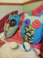 Hand-sewn felt owl cushions by moonwolf17