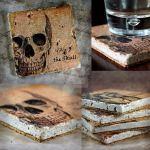 The Skull Drink Coasters, tumbled Marble by NeverlandJewelry