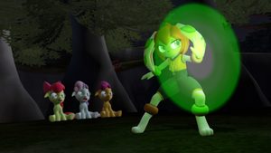 Milla protecting fillies from the monster by TBWinger92